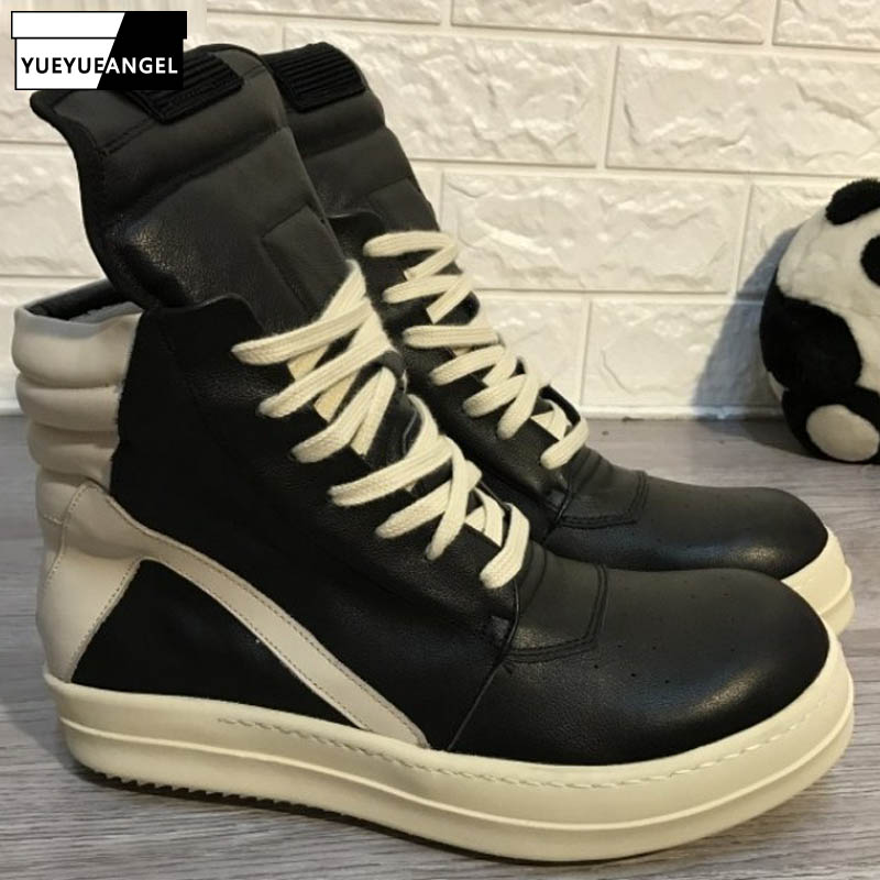 Men Shoes Ankle Luxury Trainers Thick Platform Cow Leather Boots Lace Up Casual Sneaker Zip Flats Lovers High Top Shoes Big Size