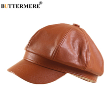 BUTTERMERE Winter Hat Women Pu Leather Newsboy Cap Solid Khaki Octagonal Ladies Beret Peaky Blinder Vintage Hats for