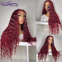 180% бордовые кружевные передние человеческие волосы окрашенные # 99j предварительно выщипанные 13x4 кружевные передние al парики для черных жен...