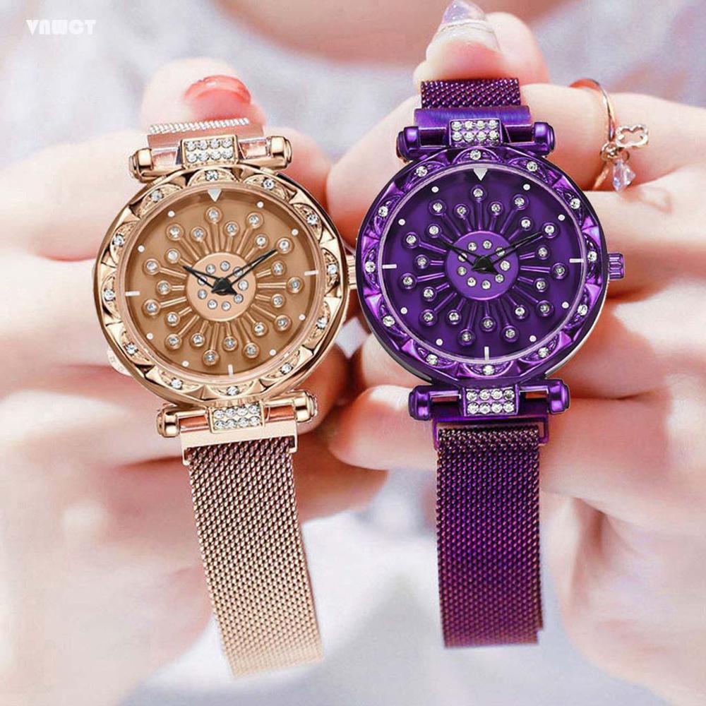 Fashion quartz women watches Luxury 360° Spin Ladies Starry Sky magnet watch bracelet Wristwatch Relogio Feminino Montre Femme
