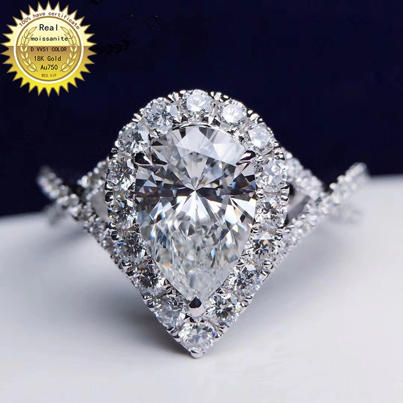 18K Goldr Ring 1ct D VVS Moissanite Ring Engagement&Wedding Jewellery With Certificate 029