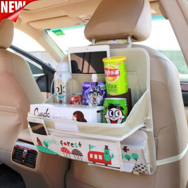 Cute Car Rear Seat Back Storage Bag Hanging Nets Pocket Trunk Bag Organizer Auto Stowing Tidying Interior Accessories Supplies