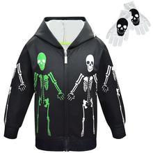 Boys Hoodies Skull Kids Clothes Chlopiece Gloves Infantil Roupa Moleton Menina Halloween