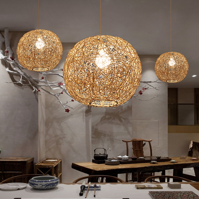 Japanese Chandelier Tea Room Coffee Bedroom Study Bar Creative Individuality Clothing Store Rattan Weaving Kitchen Hanging Lamp