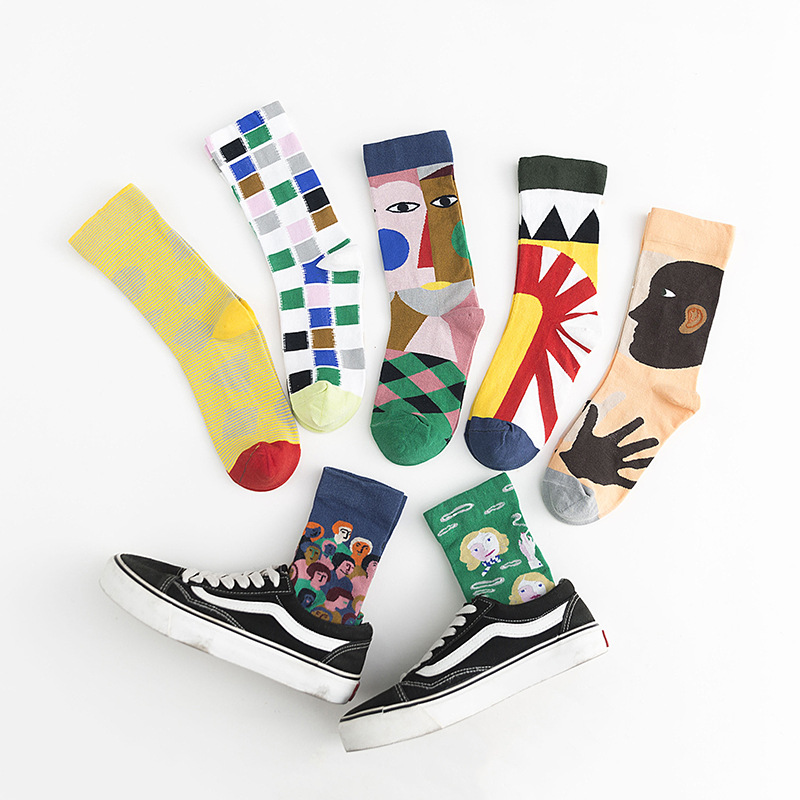 Autumn New Cotton Women Cotton Socks 2019 Fashion Printing Breathable Deodorant Fashion Brief Wild Character Happy Socks Women