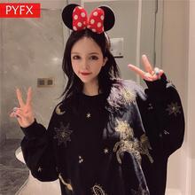 New Korean Personality Embroidered Tianma Meteor Pattern  Round Collar Loose Large Size Women's Black Hoodie Neon Sweatshirt недорого