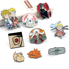 Emblemas broche figura dos desenhos animados esmalte pino jóias uzumaki/uchiha sasuke pinos broches para feminino masculino crianças presente xz1111