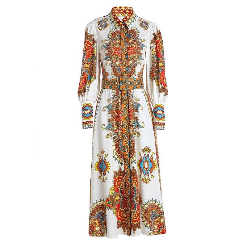 GoodliShowsi mode Robe de piste rétro Totem imprimé col rabattu lanterne manches simple boutonnage longue Robe Maxi robes de Robe