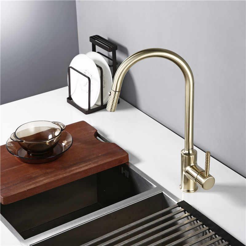 Smesiteli матовое золото смесители для кухни с одной ручкой выдвижной кухонный кран поворотный градусный смеситель для воды Хромированная пружинная Кнопка насадка водяной кран