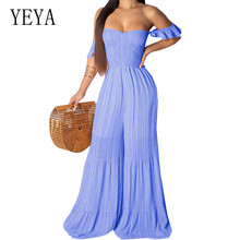 YEYA Striped Print Sexy Rompers Womens Jumpsuit Short Sleeve Wide Leg Bodysuit Off Shoulder Backless One Piece Party Overalls