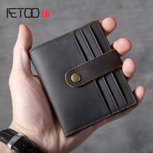AETOO Vintage Mad Horse Leather Mini Short Wallet, Head Slim Card Bag, Male and Female Drivers License Bag