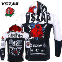 VSZAP Brand Autumn New Men Muay Thai Fight Sweatshirt Men Rose Printing Fitness Hoodie MMA Stretch Training Zip Cardigan Jacket