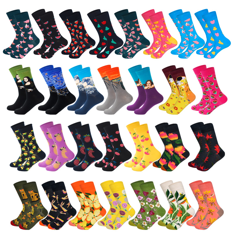 Lionzone Women Personality Happy   Socks   Fruits Flowers Famous Arts Painting Van Gogh StreetWear Outdoor Cotton   Socks   Funny Gifts