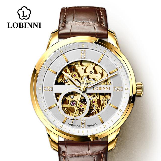 Japan Miyota Movement Watch Men LOBINNI Automatic Mechanical Watches Luxury White Skeleton Clock relogio masculin 5015