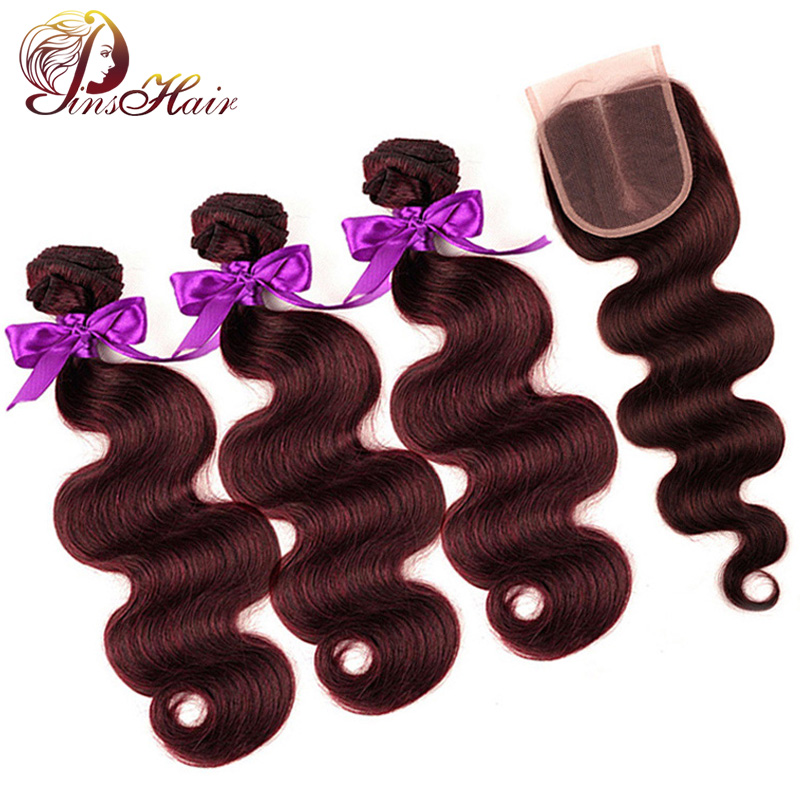Pinshair 3 Burgundy Bundles With Closure Peruvian Body Wave 100% Human Hair Extensions Non-Remy Hair Bundles With Closure Weft