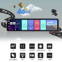 HGDO 12'' 4G ADAS Car DVR Camera Android 8.1 3 Screens Rear View Mirror FHD 1080P WiFi GPS Dash Cam Registrar Video Recorder