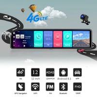 HGDO 12'' 4G ADAS Car DVR Camera Android 8.1 3 Screens Rear View Mirror FHD 1080P WiFi GPS Dash Cam Registrar Video Recorder