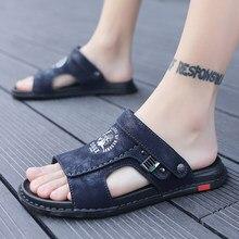 Grande taille 47 hommes en cuir véritable sandales été classique hommes chaussures pantoufles doux sandales hommes romain confortable marche Footwea