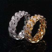 8mm Cuban Link Rings Hip hop Wedding Party Jewerly Full Iced Out Cubic Zirconia Fashion Micro Pave Charm Gift Ring For Men Women(China)