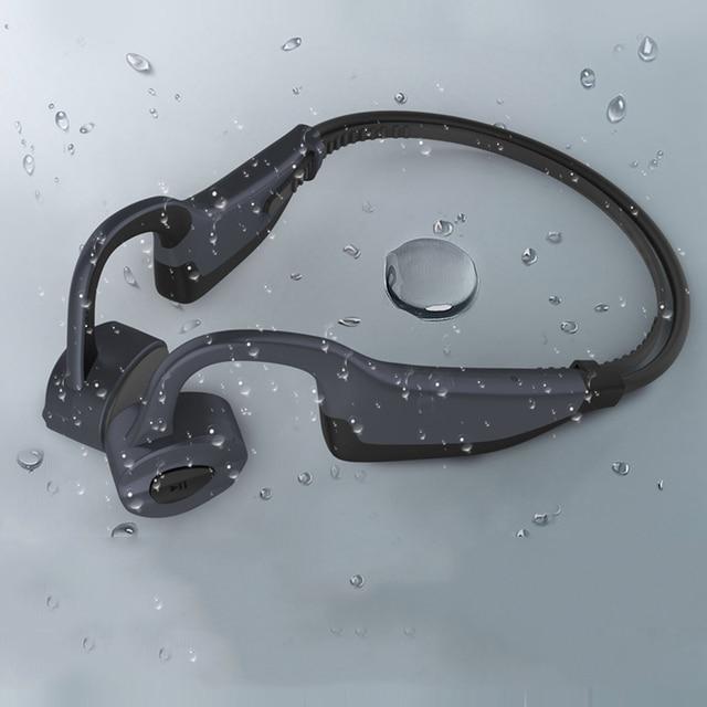 IPX8 wodoodporne słuchawki Bluetooth 5.0 z przewodnictwem kostnym bezprzewodowy zestaw słuchawkowy wbudowana karta pamięci 16GB Mic słuchawki sportowe słuchawki douszne
