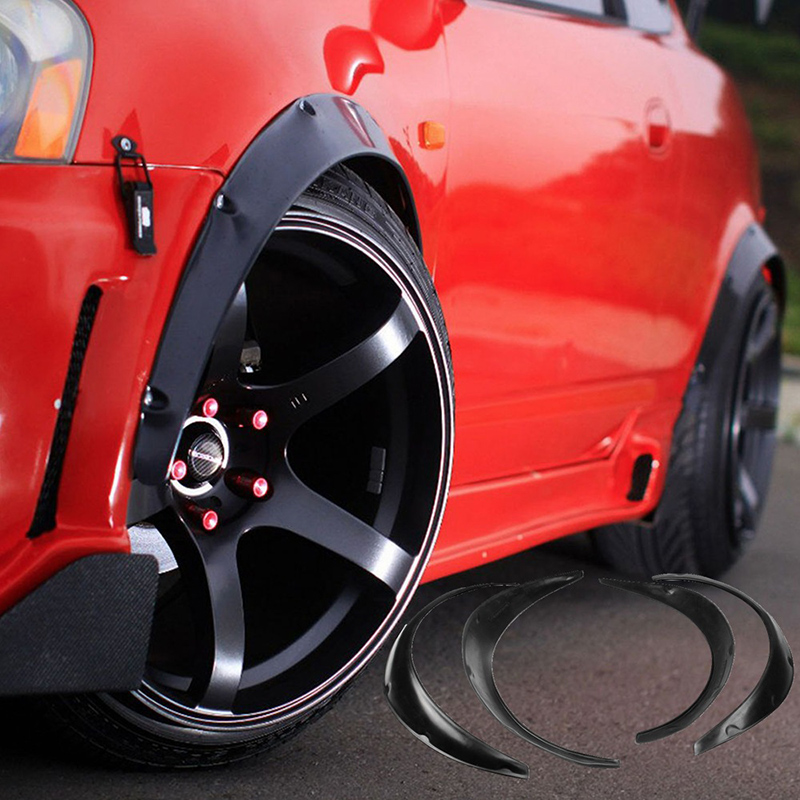 4pcs Black Universal Fenders Flares Flexible Durable PU Auto Car Body Kit Car Fenders Guard Car Styling