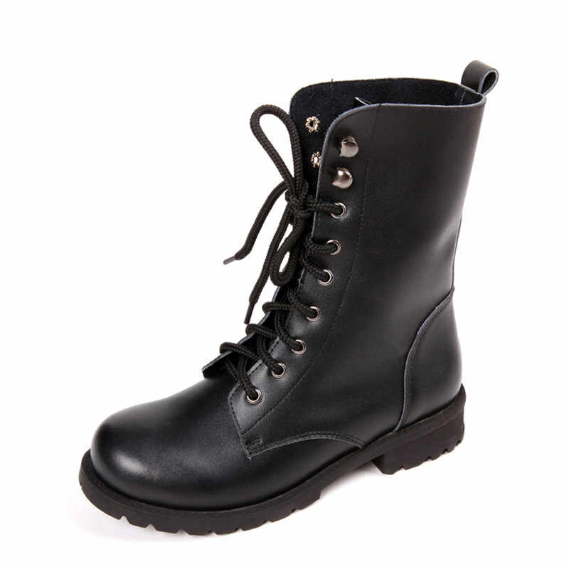 Kadın Botları Toka Kış Motosiklet Botları Kadın İngiliz Tarzı bileğe kadar bot Gotik Punk Patik Martin Ayakkabı Artı Boyutu 43