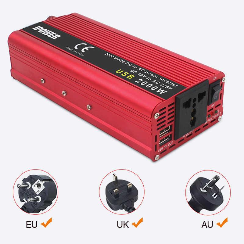 גל סינוס כוח מהפך כפול USB 2000W ואט ממיר DC 12V 24V כדי AC110V 220V נייד רכב כוח מהפך ממיר מתאם