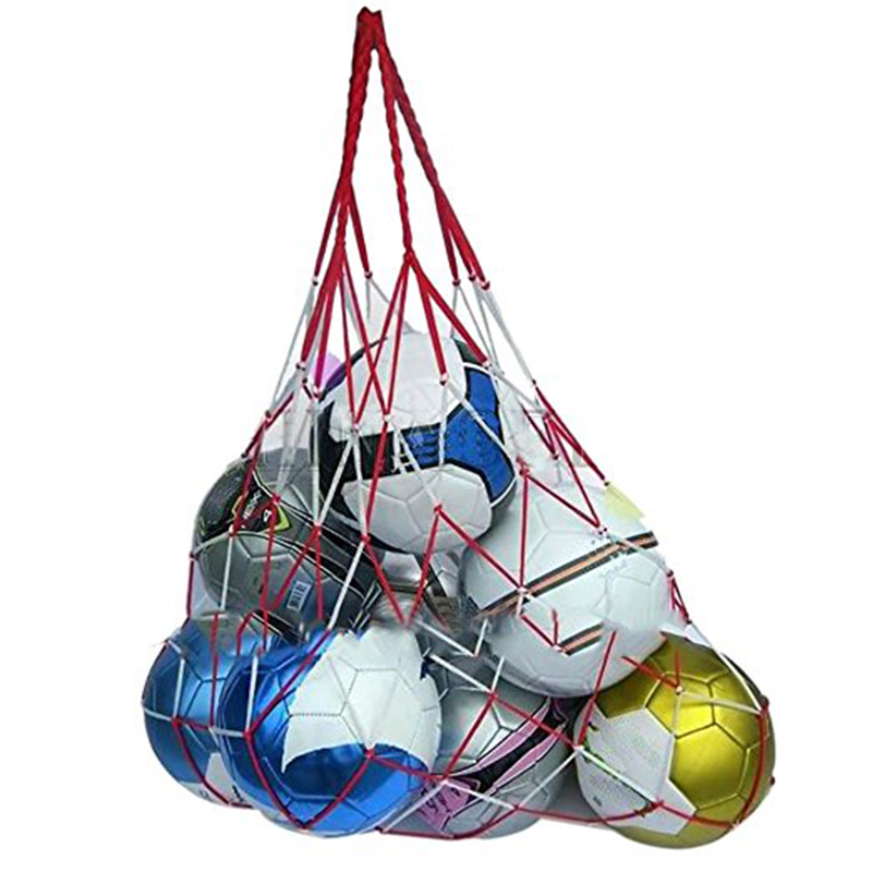 Portable Large Ball Pocket Bold Solid For Volleyball Football Basketball Net Mesh Bag Red And White Stitching Outdoor