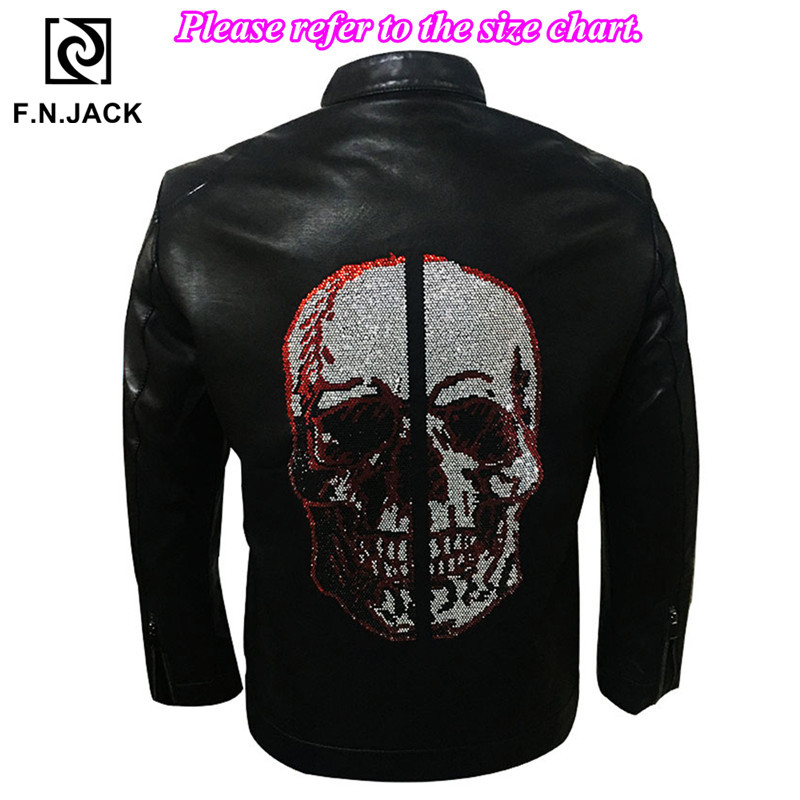 F.N.JACK Leather Jacket Men Skull Faux Leather Coat Men Winter Jacket Chaqueta De Cuero Para Hombre Motorcycle Black Jacket