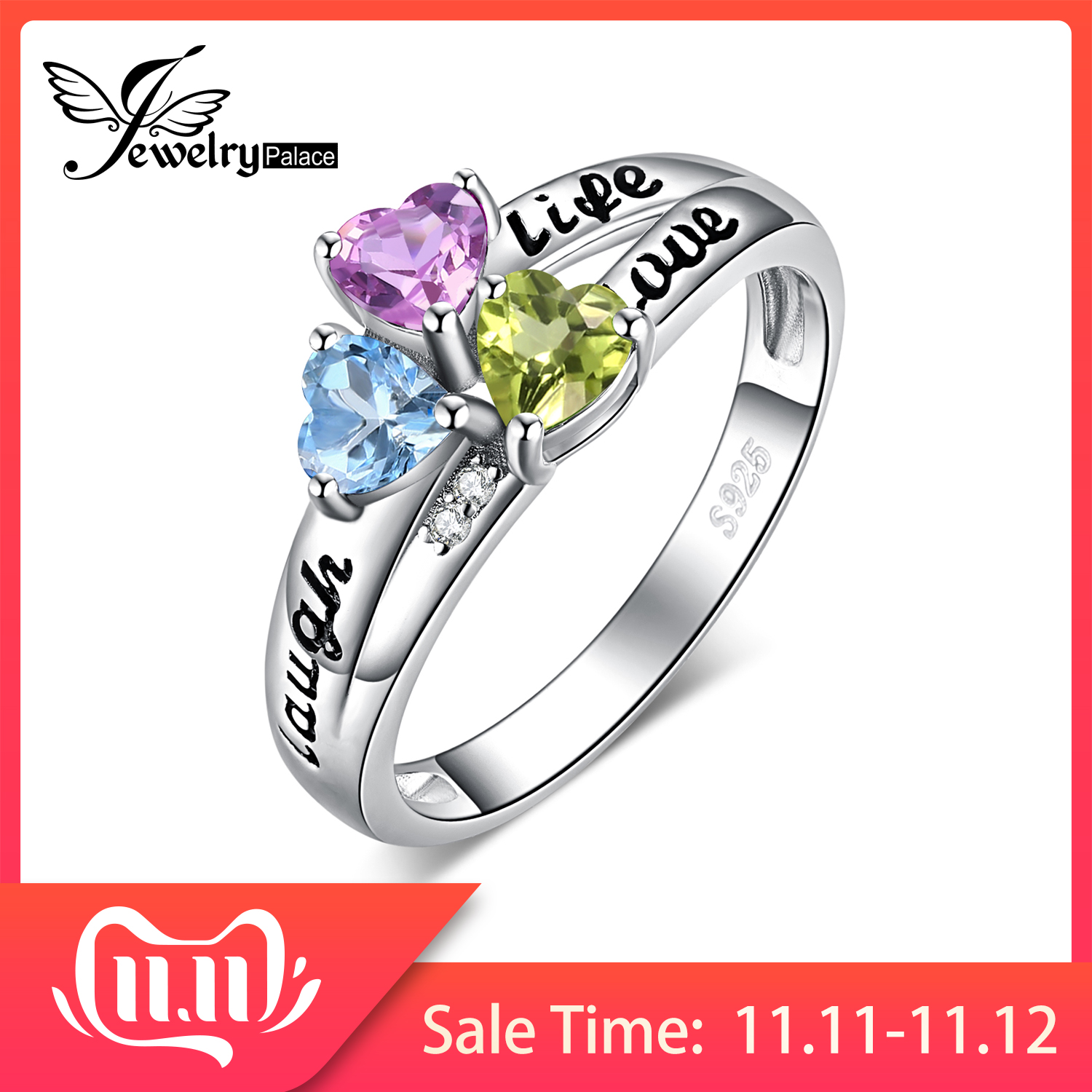 JewelryPalace Life Love Laugh Heart Genuine Peridot Amethyst Topaz Ring 925 Sterling Silver Rings For Women Promise Ring Jewelry