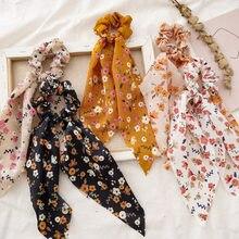 Moda chiffon de seda floral fino arco cabelo scrunchies feminino la fazer cabelo corda rabo de cavalo titular bandas de borracha ace