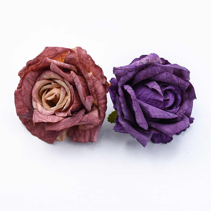 2PCS רטרו ורדים ראש חתונה דקורטיבי פרחי קיר חג המולד קישוטים לבית רעיונות פרחים מלאכותיים סיטונאי