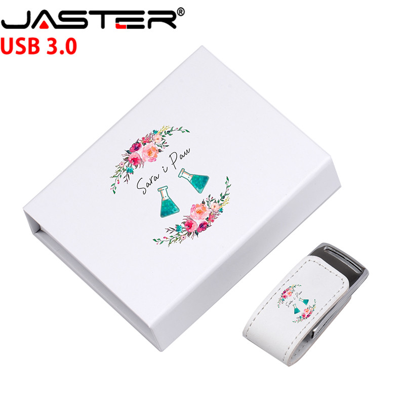 JASTER (over 10PCS Free LOGO) USB 3.0 Leather Shell Model + BOX Pendrive 4GB 8GB 16GB 32GB 128GB Usb Flash Drive U Disk Gift