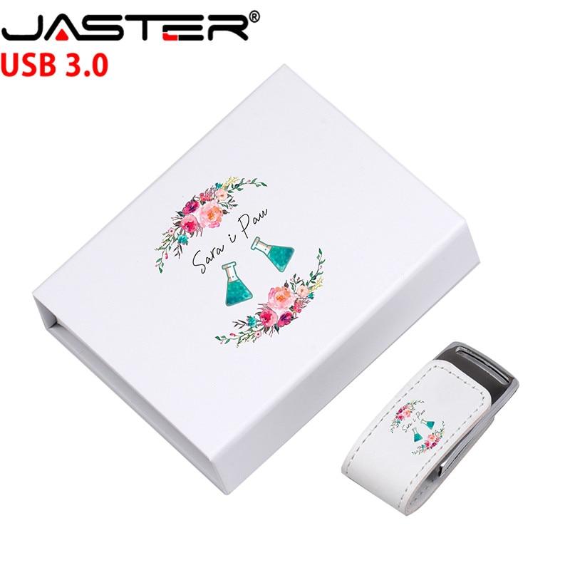 Модель USB 3,0 с кожаным корпусом JASTER (более 10 шт. бесплатного логотипа) + Флешка в коробке, 4 ГБ, 8 ГБ, 16 ГБ, 32 ГБ, 128 ГБ, usb флеш накопитель, U диск в подарок USB флэш-накопители      АлиЭкспресс