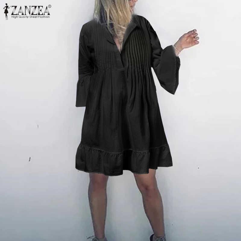 2020 sommer Strand Sommerkleid ZANZEA Frauen Mini Kleider Mode Baumwolle Kurze Vestidos Gefaltete Lange Shirts Vestido Kaftan Robe Femme