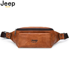 JEEP BULUO Waist Pack Fanny Men Leather Hip Bum Bag For Outdoors Workout Traveling Running Hiking Cycling Bags