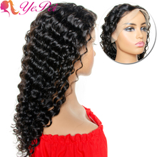 13x4 Deep Wave Lace Front Wig Brazilian Lace Front Human Hair Wigs Pre Plucked Remy Hair Natural Color Free Part 14- 20inch