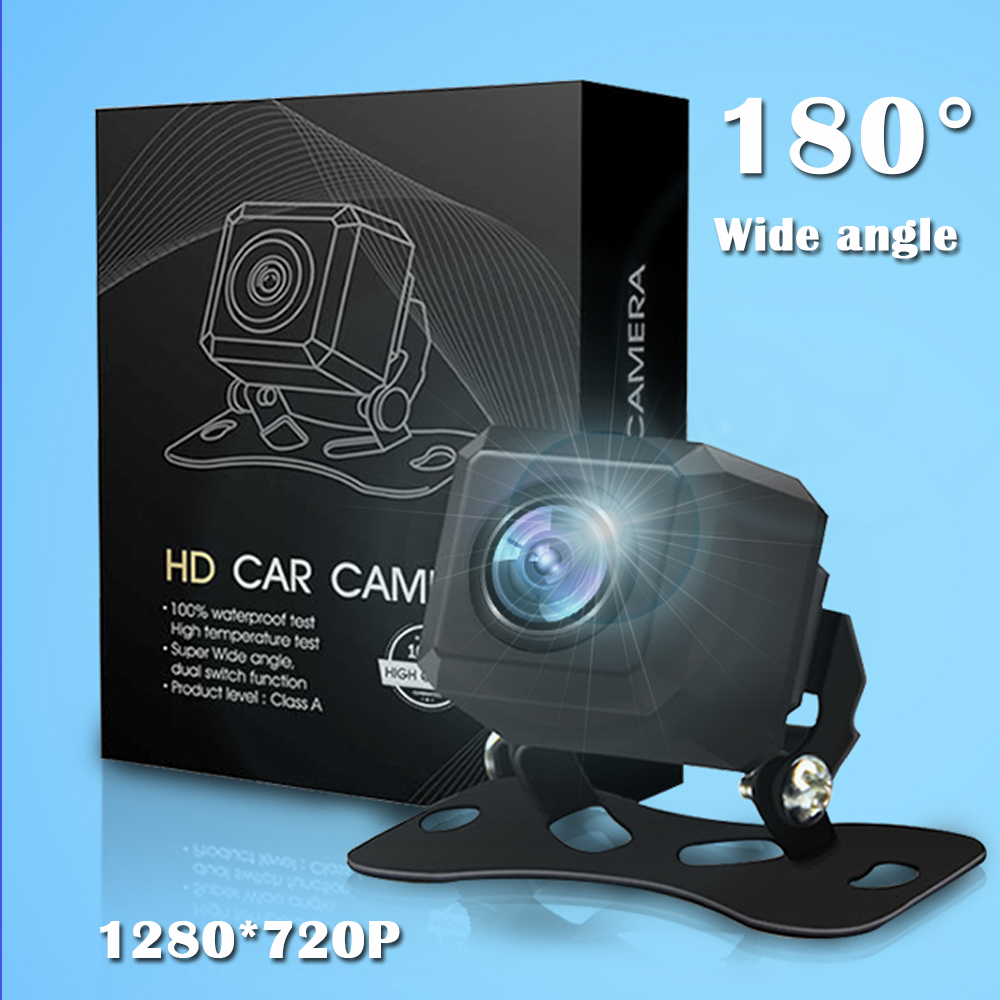 Carsanbo Car Fish Eye Lens 720P HD Rear View Camera 180 Degree Wide Angle Waterproof Car Front View Reverse Cameras for All Car