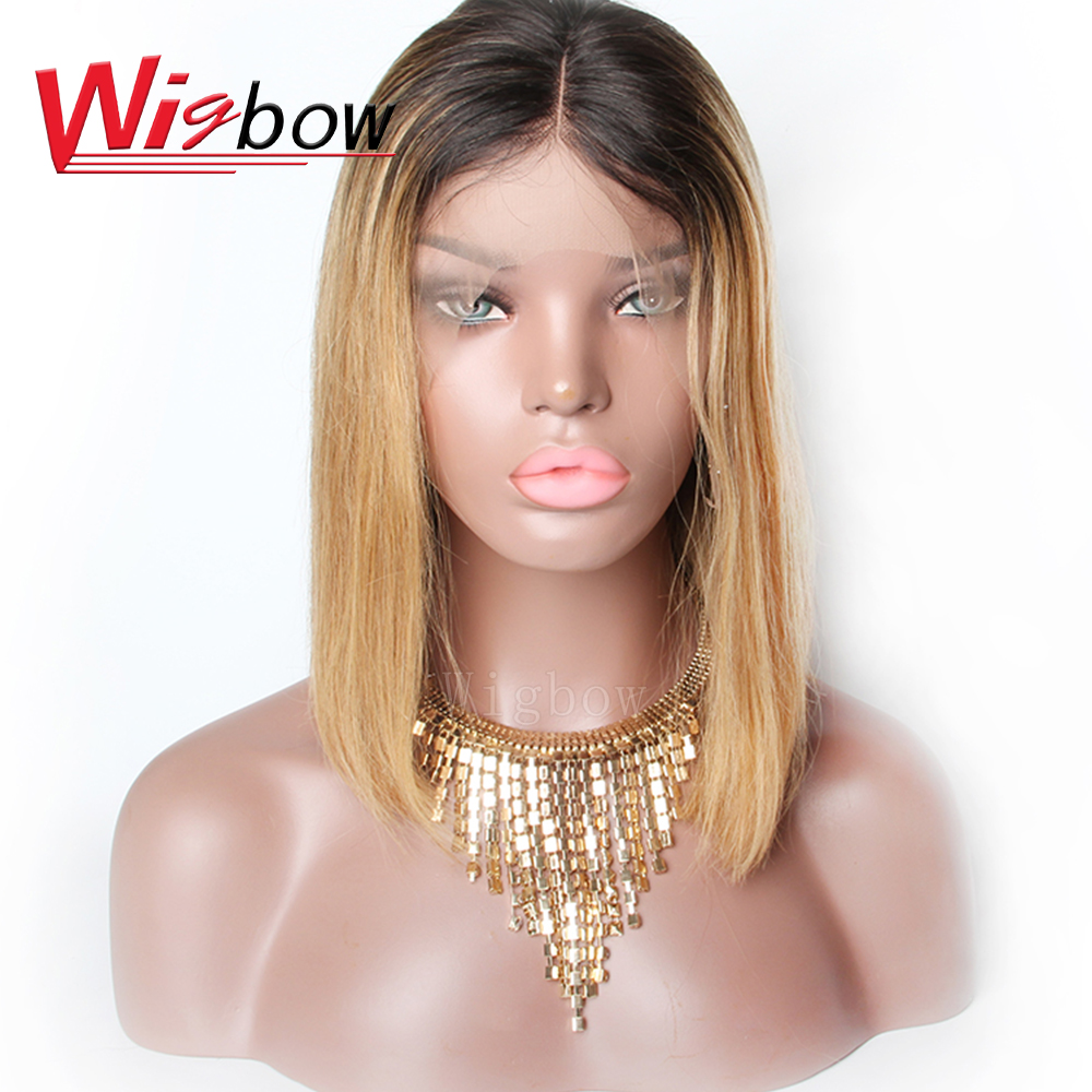 Wigbow OneCut Hair 13x6 Lace Front Human Hair Short Bob Wigs 1B 27 Blonde Black Straight For Women Brazilian Remy Hair