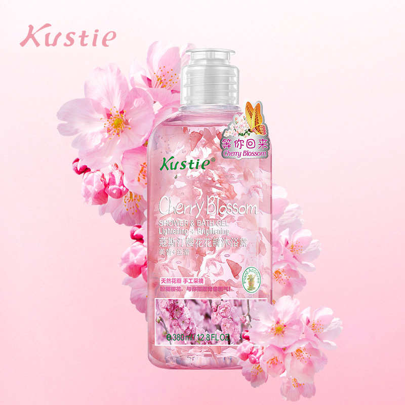 Kustie Cherry Blossom Shower Gel 220 Ml 380 Ml 720 Ml Body Whitening Natural Body Fragrance Refreshing Authentic
