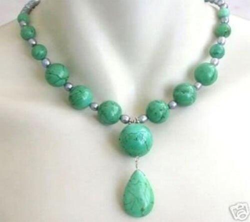 "6-14mm Blue Turkey Turquoise Gems Round Beads Necklace 18/"""