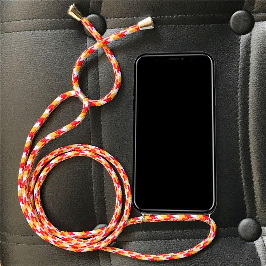 Cross Shoulder Strap Rope Soft TPU Case For LG V10 V20 V30 Plus+V40 V50 Thinq Necklace Cover
