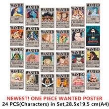 24 pçs/pçs/set uma peça cartazes a4 poster wante morto ou vivo 28*19cm onepiece luffy ace jinbe nami chopper brinquedos