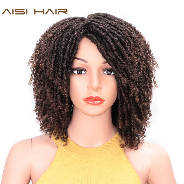 AISI HAIR Soft Short Synthetic Wigs for Black Women 14 inch Dreadlock Ombre Burg Crochet Twist Hair Heat Resistant Fiber