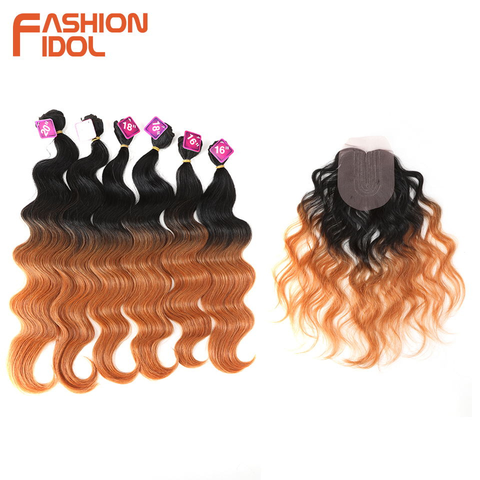 Nature Hair Synthetic Body Wave Hair Bundles Lace Front With Closure 20 inch 7Pieces/lot Ombre Blonde Weave Fake Hair Extensions