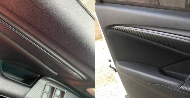 רכב סטיילינג סיבי פחמן פנים פנימי דלת קישוט מדבקת עבור הונדה Fit/ג 'אז GK5 3rd GEN 2014-2017