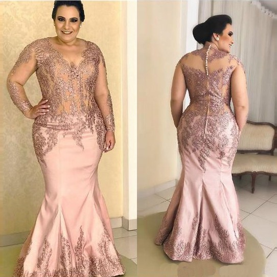 Plus Size Mother Of The Bride Dresses Lace Appliques Sheer Top Long Sleeves Mermaid V-Neck Long Bridal Mother of the Groom Dress