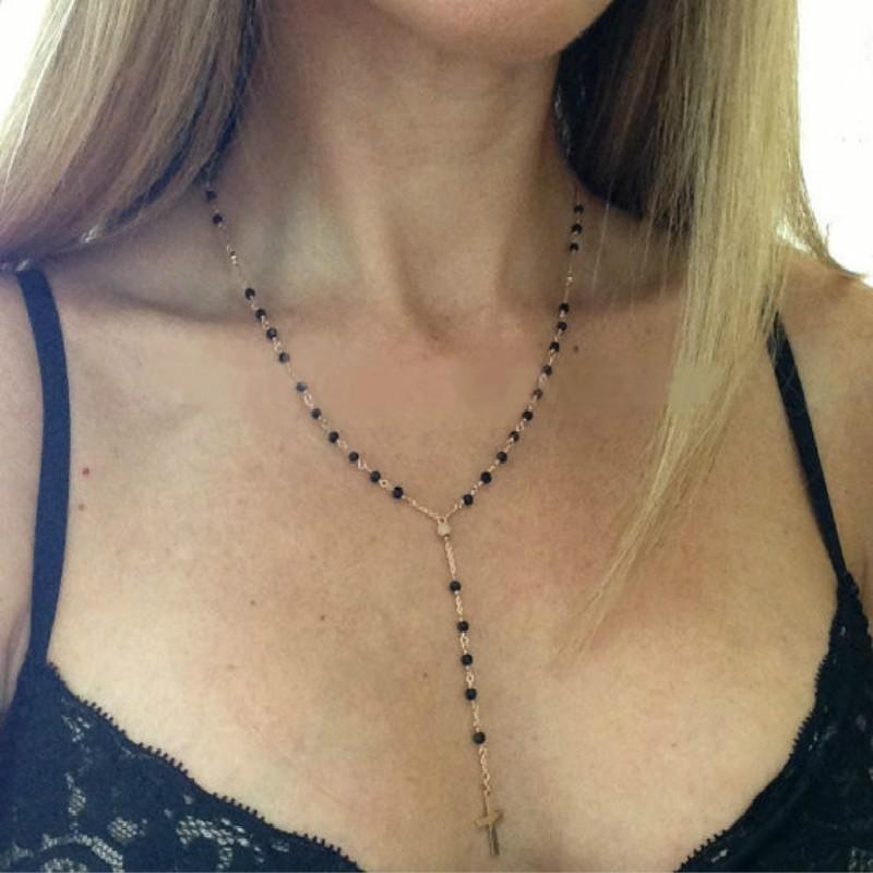 Złoty kolor srebrny łańcuch czarny kryształ naszyjnik z koralików krzyż wisiorek Y Shap biżuteria do ciała modna biżuteria Collier Ras Du Cou