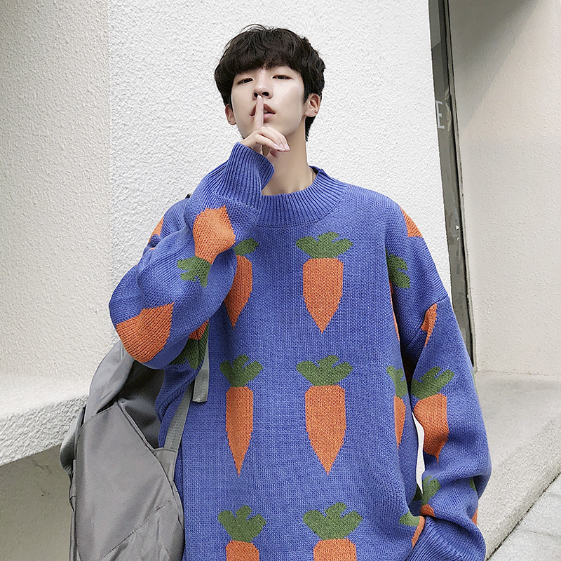 Sweater Men Warm Fashion Carrot Print Casual O-Neck Knit Pullover Man Streetwear Loose Long Sleeve Sweater Male Clothes M-2XL