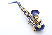 alto saxophone musical instruments E flat beautiful blue saxophone and Gold key brass fittings free shipping
